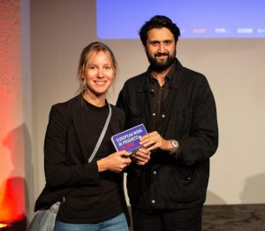"Photo: director Elmar Imanov and producer Eva Blondiau (Color of May, Producer on the Move 2019) from the film ""End of Season"", the main award winner of EWIP 2018"